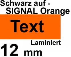 Beschriftungsband für Brother P-Touch TCM edition, Schwarz auf Signal Orange, 12 mm, laminiert, Schriftband-Kassette für Brother, 12mm breit, 8mtr.