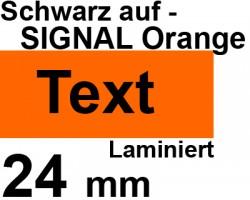 Beschriftungsband für Brother P-Touch 2500 PC, Schwarz auf Signal Orange, 24 mm, Schriftband-Kassette für PTouch 2500PC, 24mm breit, 5mtr.