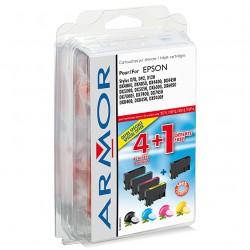 5 x Patronen für Epson Stylus DX 7450 (2xBlack,je 1x C,M,Y) Perfekte Qualität Armor Druckerpatronen kompatibel für DX7450, je 7,5ml