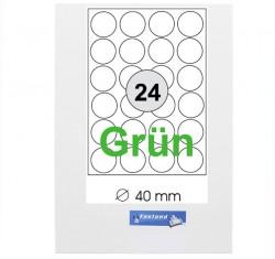 Runde grüne Etiketten  Durchmesser: 24 mm  6000 Stück (100 A4 Blätter) - Kreis:24