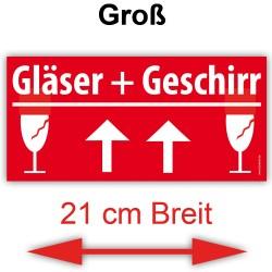 30x VORSICHT GLAS Umzugetiketten Aufkleber, Groß 21x10cm, Rot, Sicherheitsetikett als Warnhinweis selbstklebend 30x