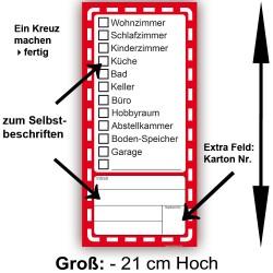 30x Umzugetiketten 21cm Hoch, Aufkleber Beschriftung mit Etiketten vom Umzugskarton für den Überblick beim Umzug 30x