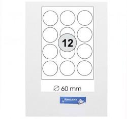 Runde Etiketten Durchmesser: ø 60 mm  1200 Stück (100 A4 Blätter) - ø60 weiße Universal Kreis Etikett selbstklebend