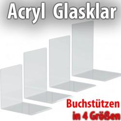 2x Acryl Buchstützen Faxland in 4 Größen, glasklar, 10 x 8 x10cm 10 x 8 x10cm