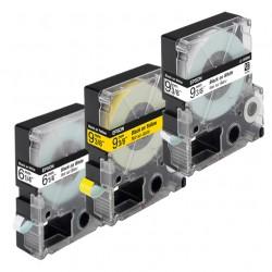 LC-4WBW9, Schwarz auf Weiss, 12 mm, Beschriftungsband für Epson, Schriftband LabelWorks-Band LW400, 12mm breit, 9mtr.