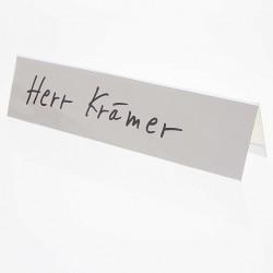 25x Tischschilder Faxland Namensschilder groß, 25x6 cm, Plastik mit Karton weiß blanko zum selbstbeschriften