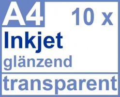 Inkjet Klebefolie 10 x DIN A4 transparent glänzend, klar - Glasklar - Druckerfolie zum bedrucken mit Tinte