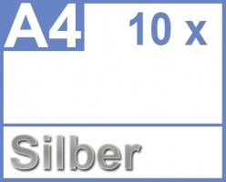Klebefolie 10 x DIN A4 silber - Druckerfolie, klebend, zum bedrucken, Wetterfest, Wasserfest für Laserdrucker, Outdoor