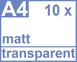Klebefolie 10 x DIN A4 transparent matt - Druckerfolie, klebend, zum bedrucken, Wetterfest, Wasserfest für Laserdrucker, Outdoor