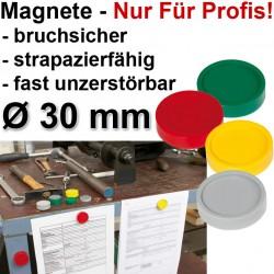 10x Profi Magnete Gelb Ø 30 0,6 kg Haftkraft, 10 St./Set Haftmagnete, stoßfest, bruchsicher, Fallfest Gelb