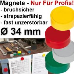 10x Profi Magnete Gelb Ø 34 2 kg Haftkraft, 10 St./Set Haftmagnete, stoßfest, bruchsicher, Fallfest Gelb
