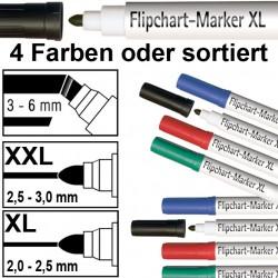 4x Flipchartmarker in 4 Farben und 2 Größen wählbar, Filzstift für Papier - Flipchartblöcke XL - mehrfarbig