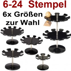 Runder drehbarer Stempelträger, 6 Größen, für 6-24 Stempel, Stempelkarusell 6er Schwarz