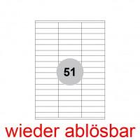 Wiederablösbare Etiketten 70 x 16,9 mm 5100 Stück (100 A4 Blätter) - 70x16, weiße Universal Etikett selbstklebend, ablösbar Non Permanent