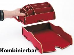 Schreibtischzubeh/ör Briefablage Acryl Briefst/änder 2 F/ächer Briefsortierer glasklar