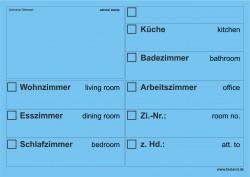 Faxland 20x Umzugsetiketten Nr.2, 148x105 - A6, Beschriftung mit Etiketten vom Umzugskarton für den Umzug, Umzugetiketten Eti-Umzug2-A6-blau