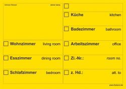 Faxland 20x Umzugsetiketten Nr.2, 148x105 - A6, Beschriftung mit Etiketten vom Umzugskarton für den Umzug, Umzugetiketten Eti-Umzug2-A6-gelb
