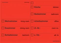 Faxland 20x Umzugsetiketten Nr.2, 148x105 - A6, Beschriftung mit Etiketten vom Umzugskarton für den Umzug, Umzugetiketten Eti-Umzug2-A6-rot