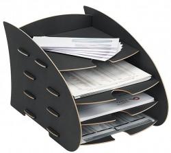 Briefkorb mit 4 Ablagen, Briefablage Black, Schreibtischzubehör, Earth Serie , Fellowes, 80106 Fel_STEart1_8010601