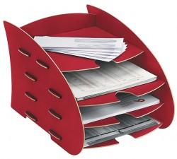 Briefkorb mit 4 Ablagen, Briefablage Rot, Schreibtischzubehör, Earth Serie , Fellowes, 80122 Fel_STEart7_8012201