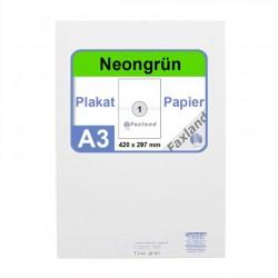 Faxland Neonpapier 100x DIN A3 Kopierpapier Neongrün - in Neon Farbe Fluo Grün
