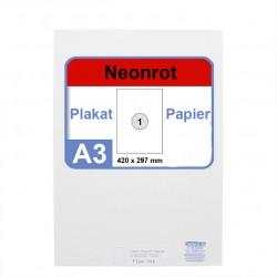 Faxland Neonpapier 100x DIN A3 Kopierpapier Neonrot - in Neon Farbe Fluo Rot