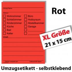 20x xl umzugetiketten rot beschriftung mit etiketten vom umzugskarton f r den. Black Bedroom Furniture Sets. Home Design Ideas